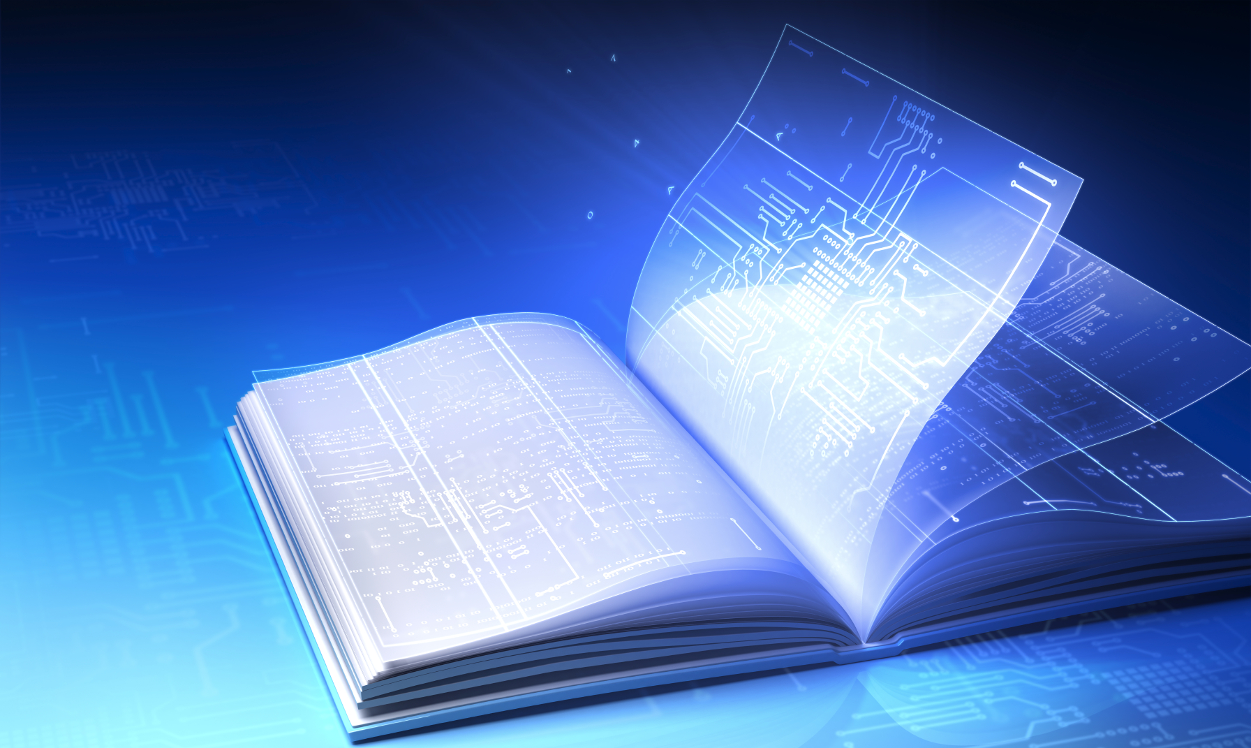 An image of a book that has digital information